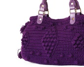 purple Shoulder Bag Celebrity Style With Genuine Leather Straps / Handles hand bag hand made-crochet bag