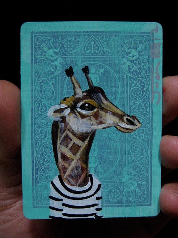 Giraffe portrait N5 on a playing cards. Original acrylic painting. 2012