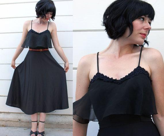 1970s PARTY DRESS // sheer black & floral ruffles // XS c477