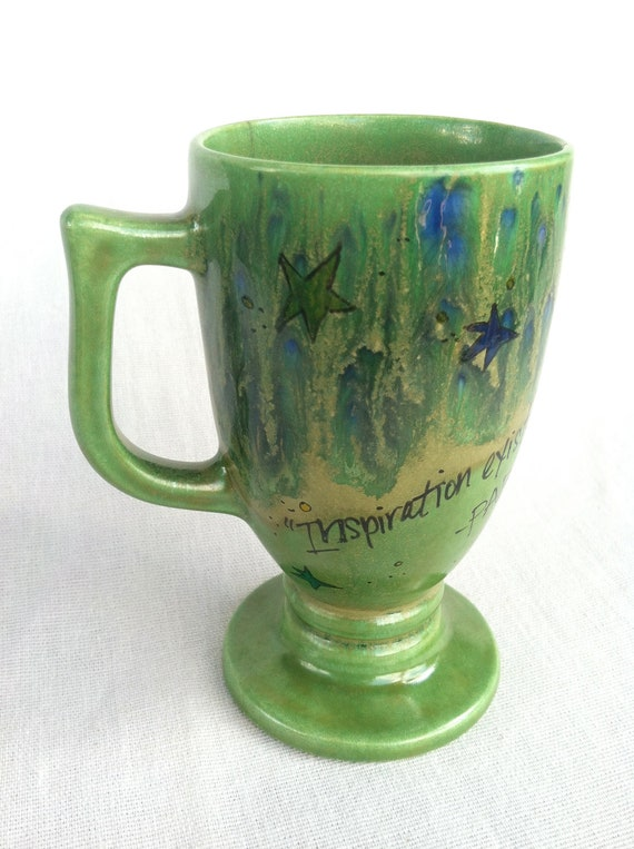 "Pablo Picasso ""Inspiration exists, but it has to find you working"" Hand-Painted Quote Mug - Narrow, peacock green goblet"