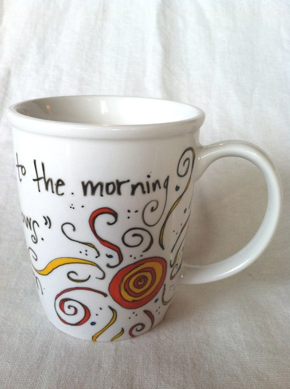 "J.R.R. Tolkien ""You can only come to the morning through the shadows"" LOTR White mug with sun"