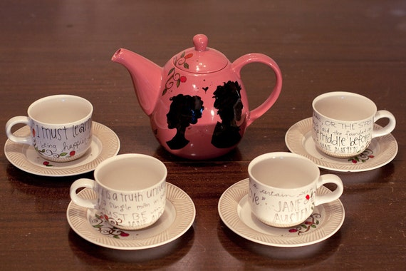 Pride and Prejudice Tea Set - Jane Austen Quotes - Hand painted - Rose pink teapot with 4 antique cream and white cups and saucers