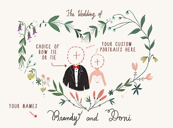 Illustrated Wedding Invitations: Printable Custom Portraits Wedding Invitation Illustrated