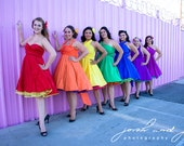 Rainbow Bridesmaids Dresses Knee Length or Floor Length  ... Bridesmaids, Cocktail Party, Date Night, Beach, Prom, Quinceanera
