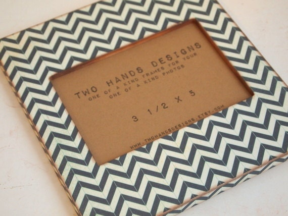 Midnight Blue Chevron Wood Picture Frame