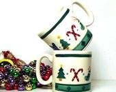 Vintage Christmas Mugs Coffee Cups Hartstone USA Pottery Ltd Edition