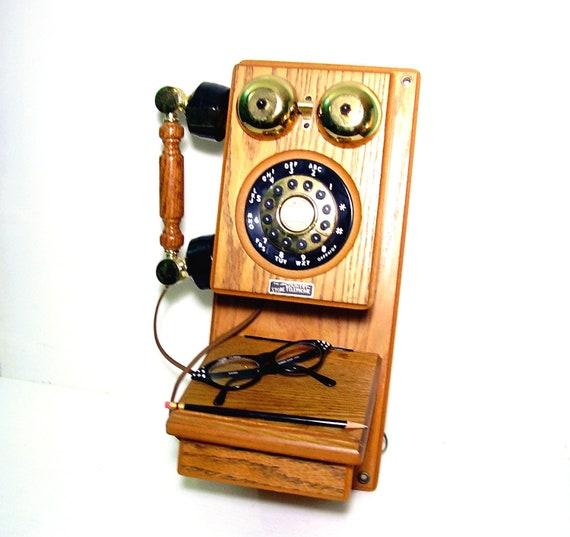 Vintage Oak Telephone Antique Reproduction 1970s September SPECIAL