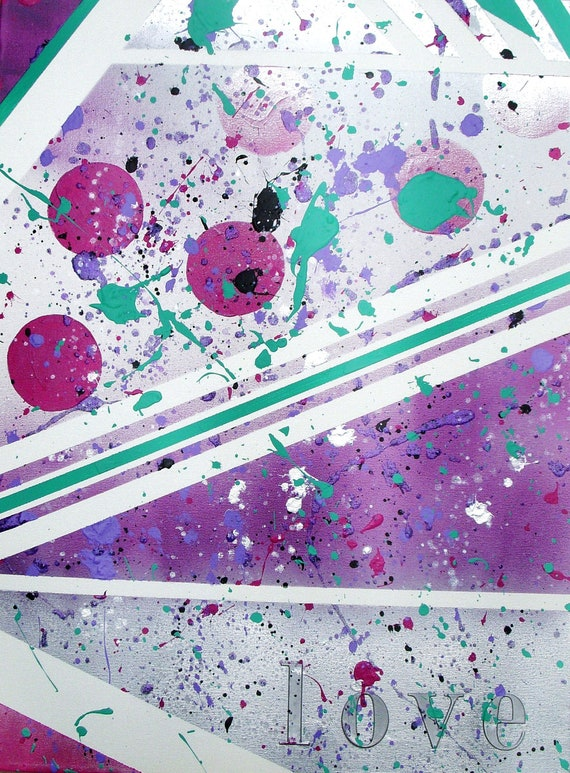 The Tenley - Fuscia, Purple, and Teal Splatter Paint Custom Artwork