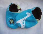 Newborn Baby Shoes Booties  Boy -  Giraffes and Abc's