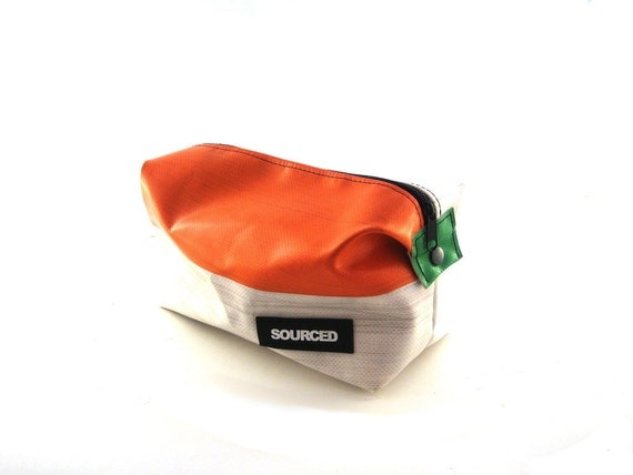 Make Up Bag, Make Up Case, Fully Lined Washbag made from Upcycled Truck Tarp Eco Friendly (3.11)