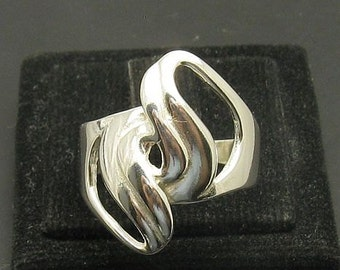 R000967 Stylish Plain STERLING SILVER Ring Solid 925