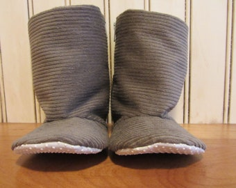 Corduroy Baby boots- Gray - newborn to toddler-  non slip sole, new baby walkers