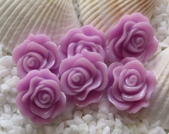 Resin Rose Flower Cabochon - 12mm - 30 pcs - Orchid