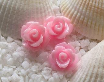 Resin Rose Flower Cabochon 10mm - 50 pcs - Pink