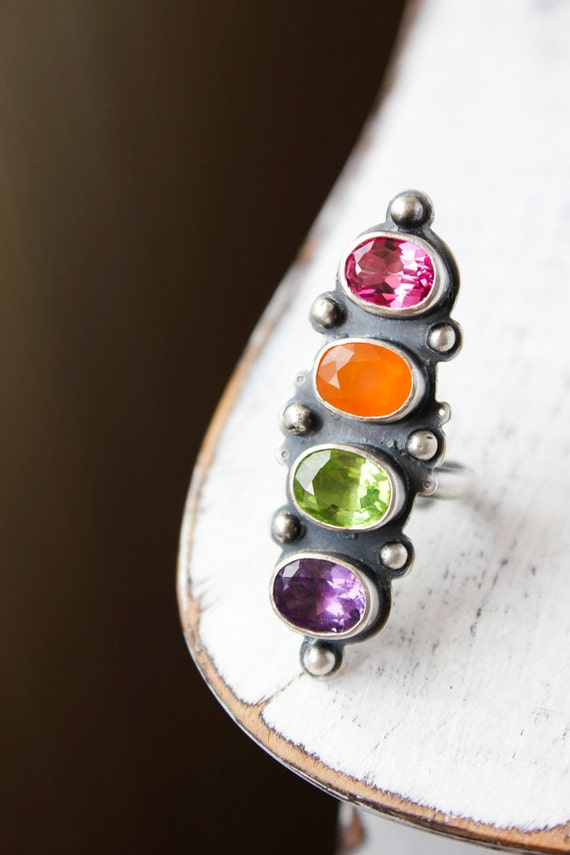 RESERVED for ClaireAndJamie - Cocktail ring, multi gemstone, peridot, pink topaz, amethyst, fire opal, sterling silver - The Abundance Ring