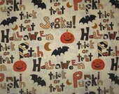 Halloween sayings on cream 1 yard new
