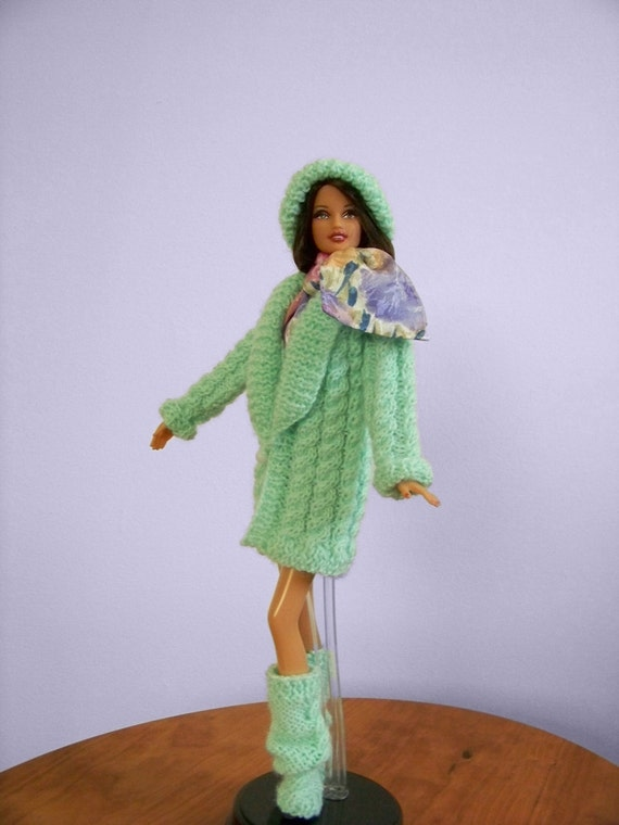 Fisherman Cable Sweater Coat Ensemble for Barbie