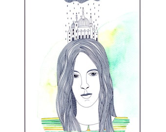Watercolor art print, Portrait of woman, House drawings, Buildings On Head, A4 print, Ink art, Pastel Green Lemon, Stripes, Long Hair