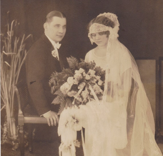 Roaring 20s Bride and Groom- Flapper Wedding- 1920s Vintage Photograph