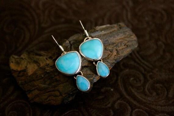Larimar Earrings set in Sterling Silver