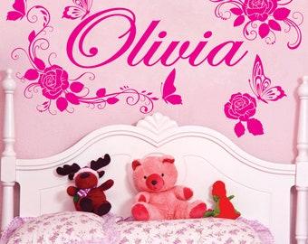 ROSES Flowers Personalized Name Butterflies Vinyl Wall Decals Art Stickers KIds Girls Nursery