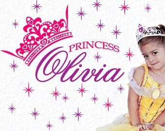 X-Large 2-Color Personalized Name and Princess Crown Vinyl Wall Decals Art Stickers (No. 044)
