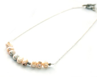 Freshwater Pearl and Platinum Silver Necklace - Bridal Jewelry, Bridesmaids Gifts
