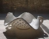 Hobnail Milk Glass Bowl Scallop Edge Handles Wavy Edge