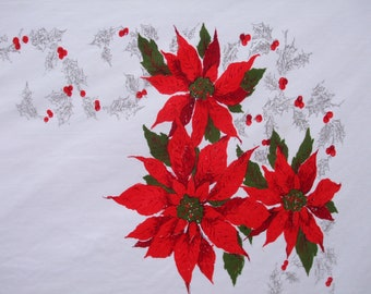 Christmas Tablecloth Holly Berries Poinsettias Ribbon Tablecloth Long Vintage Christmas Red Green