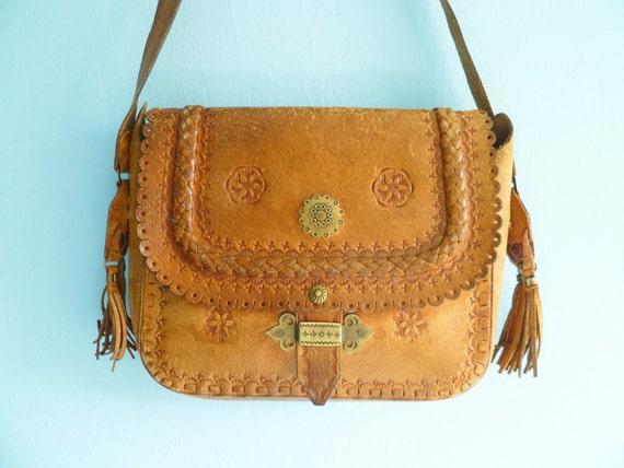 Caramel brown leather bag purse / shoulder bag / hippie / folk / long strap