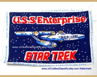 1 Piece Vintage U.S.S. Enterprise Space Ship NCC 1701 Star Trek Cotton Fabric Rectangles 1976 Production SALE USA