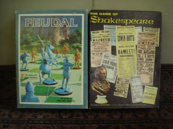 Collectible Avalon Hill Vintage Bookshelf Strategy Games Feudal and The Game of Shakespeare