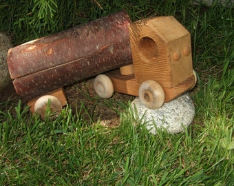 Vintage wood toy wood truck BIG wood log truck rolling toy handmade wood truck toy truck man cave sturdy outdoor play truck Foot long truck