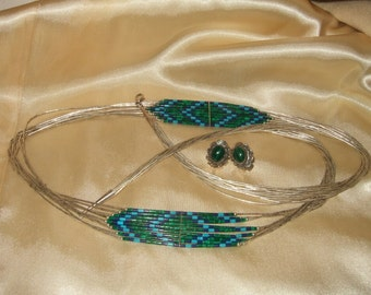 Vintage turquoise necklace and earring 925 sterling signed Native American tribal necklace Lapis Lazuli turquoise malachite Pierced earrings