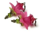 Magenta Pink Lily Floral Swarovski Crystal Antique Brass Earrings, Hot Pink Flower Earrings, Fuchsia Flower Jewelry