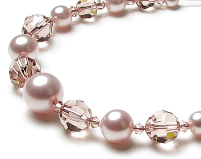Blush Rose Swarovski Pearl and Pink Swarovski Crystal 14K Gold Filled Necklace, Mother of the Bride, Rose Wedding Jewelry, Bridesmaid Gifts