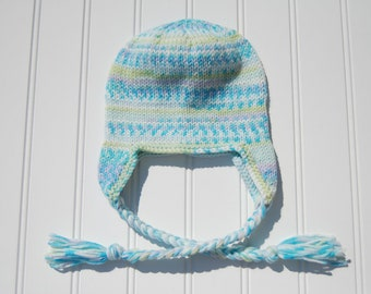 Knit Earflap Hat, Braids Aqua Green Multicolored, Knit Baby Earflap Hat Knit Baby Winter Hat, Newborn to 6 Month Size (Item 663)