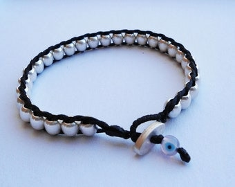 Ball Wrap Bracelet - Silver Plated round beads