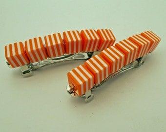 Retro Stripe Barrettes - Orange - Set of 2 - acrylic retro cube barrettes for girls, teens, and women by reynared