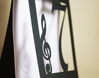 Musical Table Numbers, Treble Clef, Classic Music, Musician Party, Jazz Style Event, Cutout, Scrapbook, Papercut by Naboko