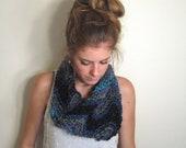Cowl Chevron Scarf Knit Black Blue- The Annapolis Cowl