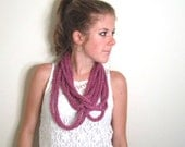 Skinny Scarf Knit Chunky Necklace Magenta- The Towson Cowl