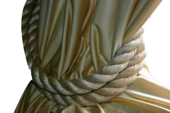 Chunky Rope Curtain Tie Backs Large Diameter Beige Tan Rope Nautical Window Treatments