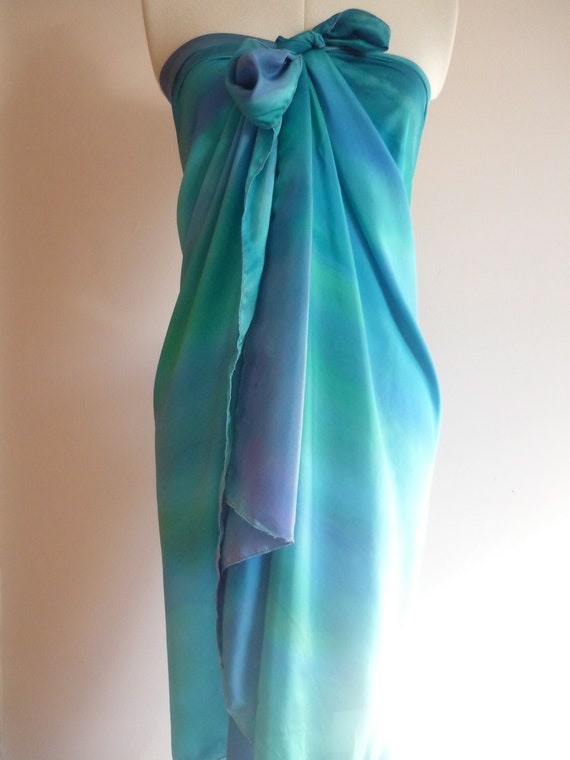 "Wearable Art Handpainted For Summer Silk Pareo 'The Seven Seas' by The Silk Maid 195cm x 88cm (34.5"" x 76.5"")"