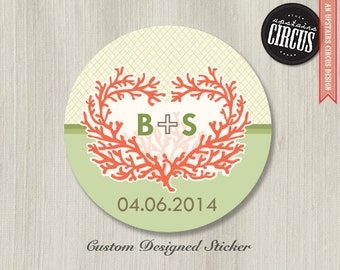 Custom Wedding Stickers - Coral Love Wedding Labels