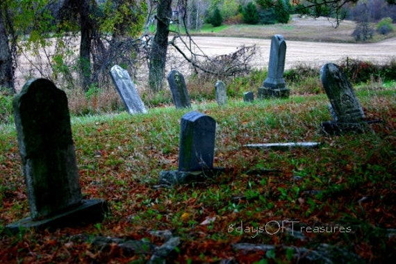Halloween, Cemetary,  Fall, Autumn, Spooky  - 5x7 Print -  Black, Black and White, Gray