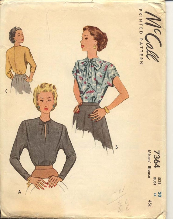 McCall 7364 Misses 1940s Blouse Pattern Day or Evening Blouse Tie Collar Kimono Sleeve Womens Vintage Sewing Pattern Bust 38 UNC