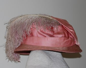 Vintage Edwardian Victorian Velvet Hat with Ostrich Feathers