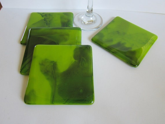 Fused Glass Coasters - Set of 4 -  Forest / Woodland