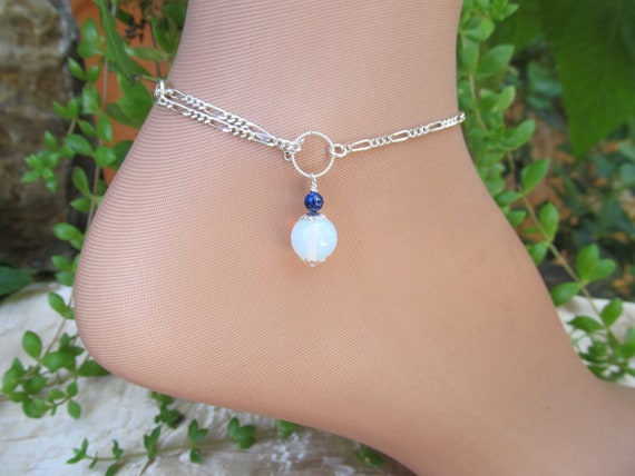 Blue Opal Opalite and Lapis Sterling Silver Anklet Ankle Bracelet Looks Great with a Toe Ring and Chain Adjustable
